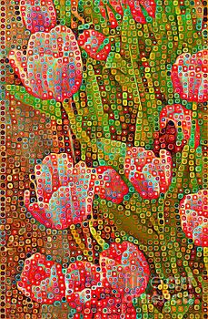 Happy Dots - Red Tulips by Miriam Danar