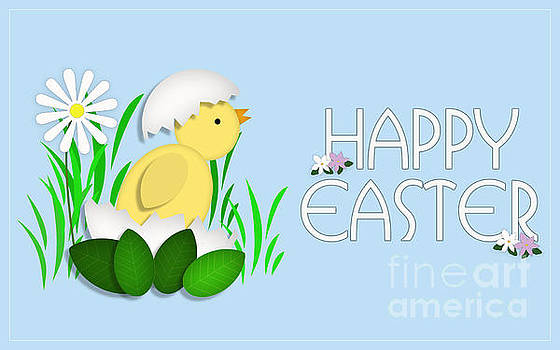 Happy Easter Baby Chick Card by Scott Parker