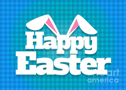 Happy Easter Blue Plaid by JH Designs