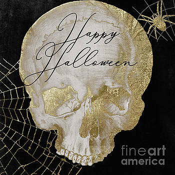 Happy Halloween Golden Skull by Mindy Sommers