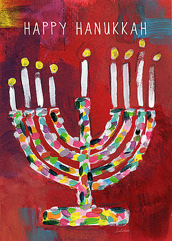 Happy Hanukkah Colorful Menorah Card- Art by Linda Woods by Linda Woods