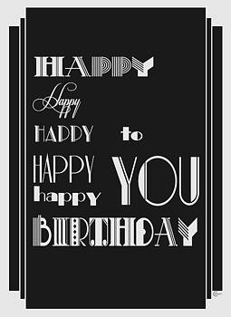 Happy Happy Happy Birthday 1920s Art Deco Style by Cecely Bloom