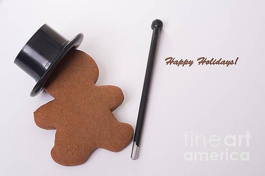 Happy Holidays Dancing GIngerbread man by Linda Matlow
