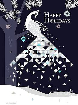 Happy Holidays Peacock by Kate Cosgrove