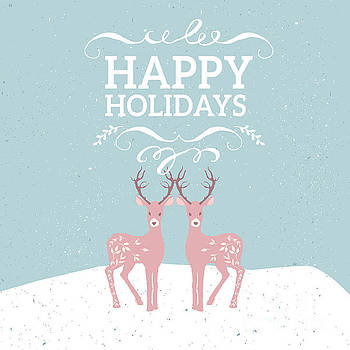 Happy Holidays Pink Deer by Pam  Holdsworth