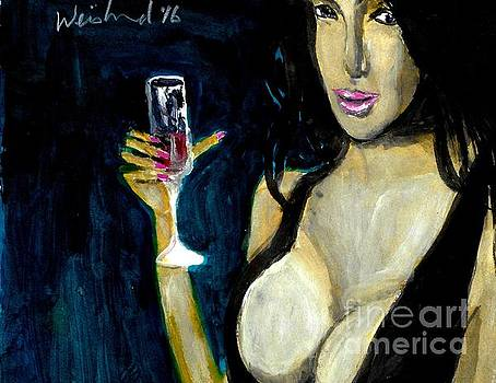 Happy Hour Glass Red Wine  by Harry WEISBURD