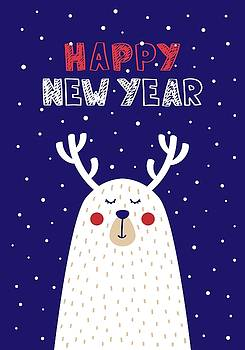 Happy New Year with Deer by Christopher Meade