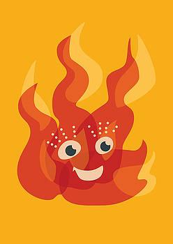 Happy Orange Burning Fire Character by Boriana Giormova
