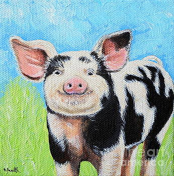 Happy Pig Painting by Kirsten Sneath