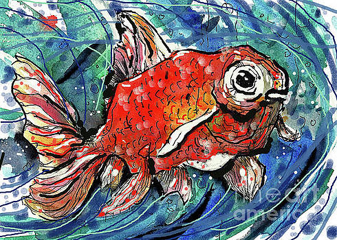 Happy Plump Goldfish by Terry Banderas