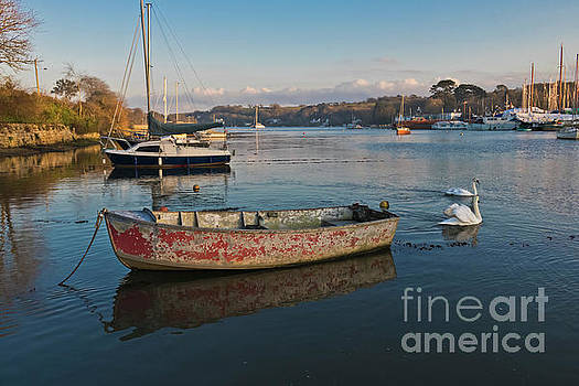 Happy Reflections of an Old Red Boat by Terri Waters