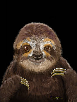 Happy Three Toe Sloth by Thomas J Herring
