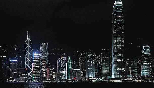 Harbor at night. Hong Kong 2013 by Chris Honeyman