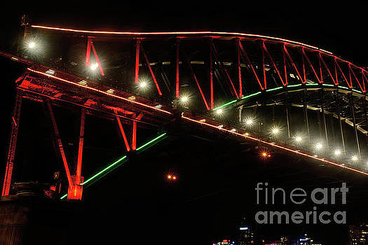 Harbor Bridge Green and Red by Kaye Menner by Kaye Menner