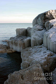 Harbor Rocks In Ice by Kathy DesJardins
