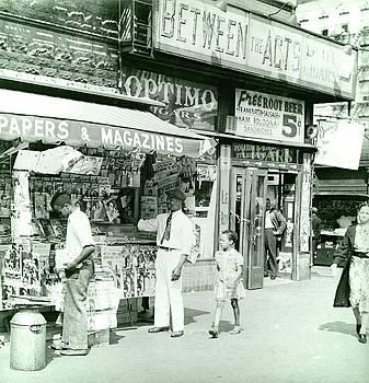 Harlem newspaper stand, 1939 by Vintage Printery