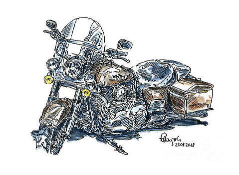 Frank Ramspott - Harley-Davidson Electra Glide Motorcycle Ink Drawing and Waterco