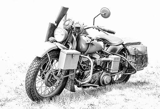 Harley Davidson Military Motorcycle BW by Athena Mckinzie