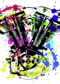 Harley Davidson Pop Art 4 by Ricky Barnard