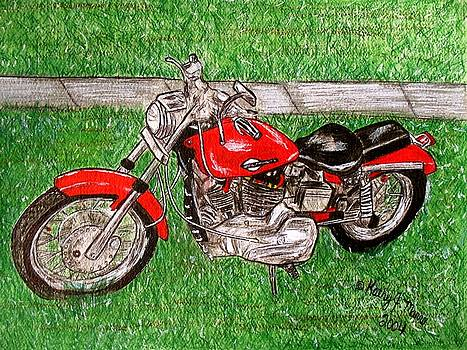 Harley Red Sportster Motorcycle by Kathy Marrs Chandler