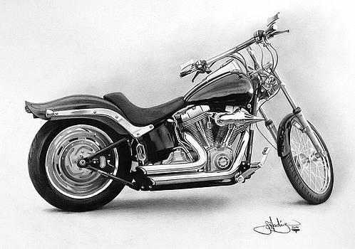 Harley Softail study drawing by John Harding