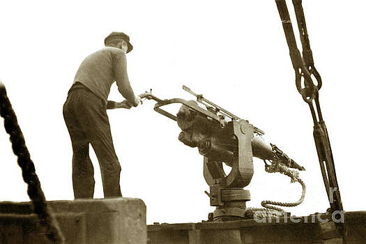 Harpoon gun on the bow deck of a whale catcher boat. L.S. Slivin by California Views Mr Pat Hathaway Archives