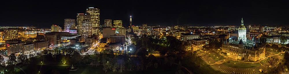 Hartford CT Aerial Night Panorama by Petr Hejl