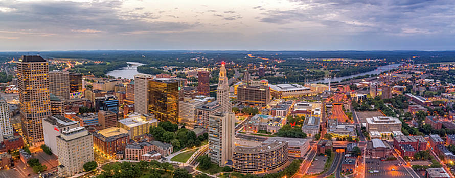 Hartford CT Downtown Twilight Panorama by Petr Hejl