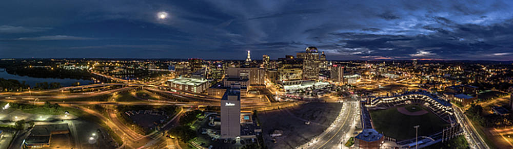 Hartford CT Night Panorama by Petr Hejl