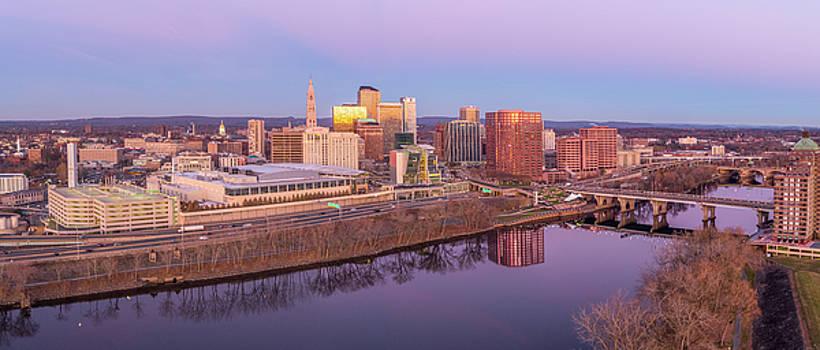 Hartford CT Pre-Dawn Skyline - Aerial Panorama by Petr Hejl