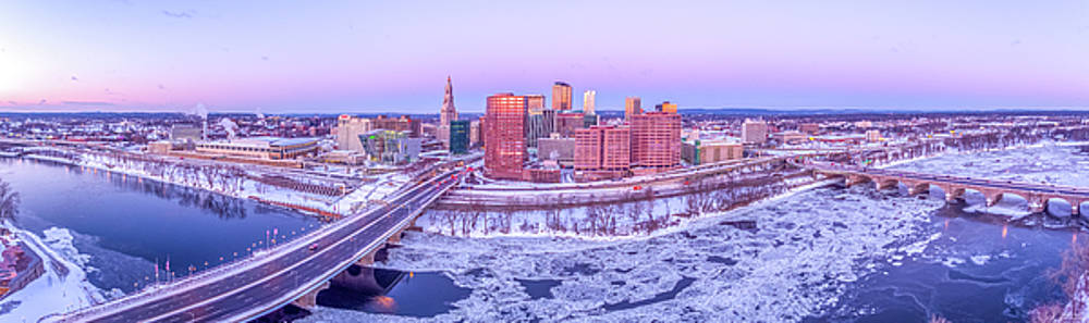 Hartford CT Winter Morning Aerial Drone Panorama by Petr Hejl
