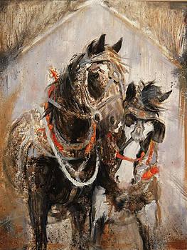 Harvest Aplenty Horse Team by Susie Gordon