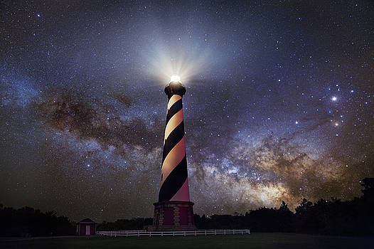 Hatteras Lighthouse and Milky Way by Dennis Sprinkle
