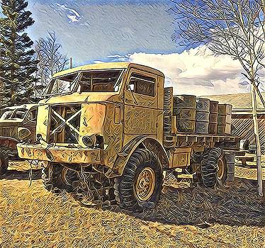 Hauling Oil Barrels on Old Canol Pipeline Project by Barb Cote