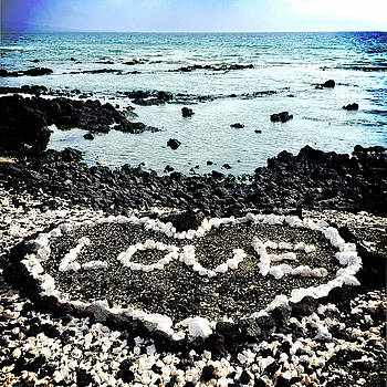 Hawaii Black Sand Beach and Coral Love Heart by Marcia Luce at Luceworks