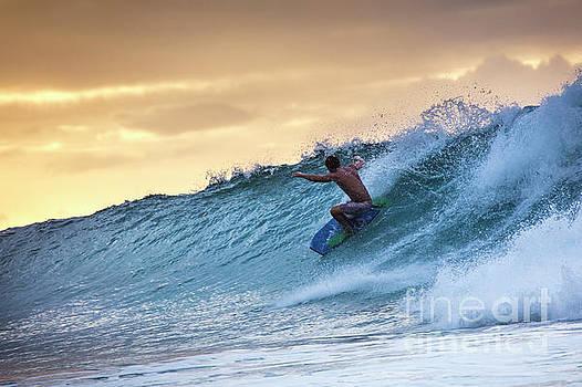 Hawaii Bodysurfing Sunset Polihali Beach Kauai  by Dustin K Ryan