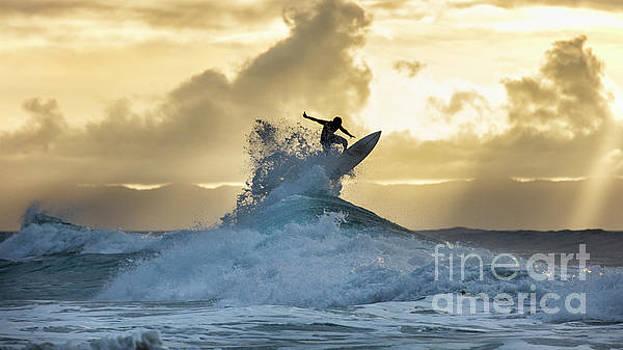 Hawaii Surfing Sunset Polihali Beach Kauai by Dustin K Ryan