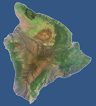 Hawaii The Big Island - Satellite Map by Ian Grasshoff