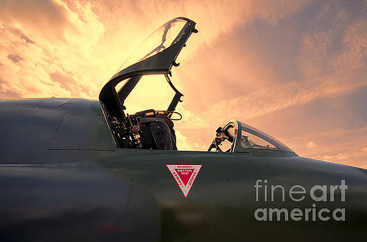 Hawker Hunter sunset by Steev Stamford