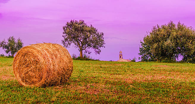 Hay Bale and Campanile. Evening in Lombardy by Dmytro Korol