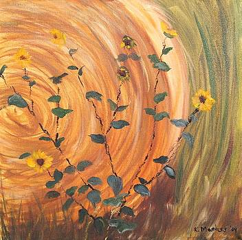 Hay Bale And Sunflowers by Karen Masters