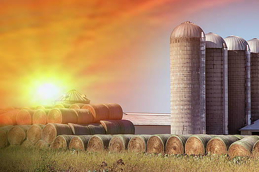 Hay Bales and silo's by Danielle Allard