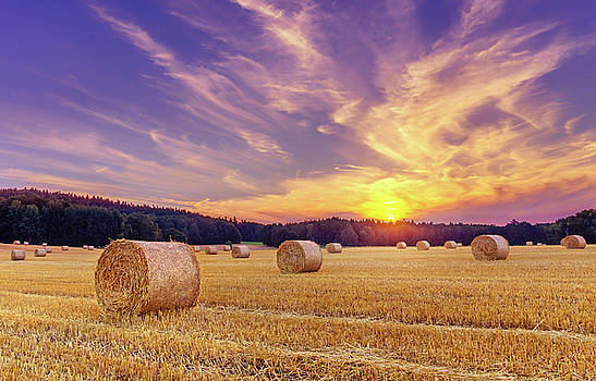 Hay bales and the setting sun by Dmytro Korol