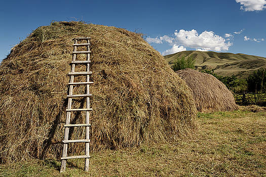 Reimar Gaertner - Hay pile with ladder in rural village of Saty on the Chilik rive