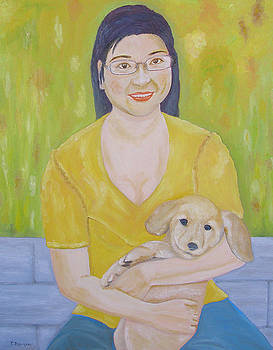Haydee with Golden Retriever Puppy Richie by Thi Nguyen