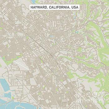 Hayward California US City Street Map by Frank Ramspott
