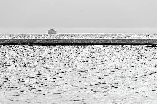 Hazy Car Ferry Coming Into Port at Ludington by Sue Smith