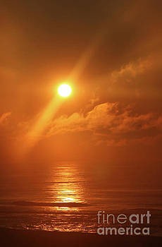 Hazy Orange Sunrise On The Jersey Shore by Jeff Breiman
