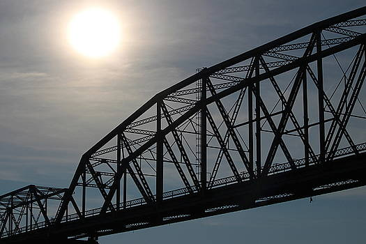 Hazy Sun over Eggners Ferry Bridge by Emily Spivy