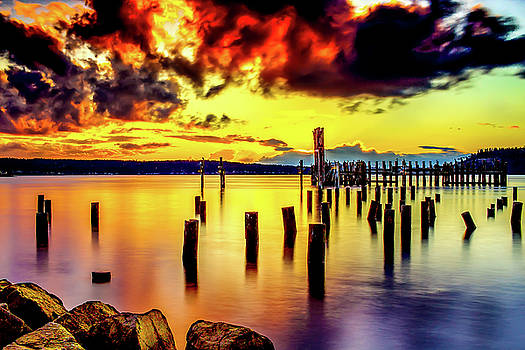 HDR Vibrant Titlow Beach Sunset by Rob Green
